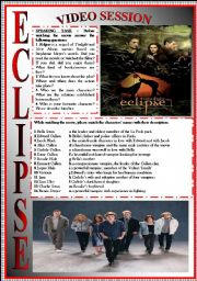 English Worksheet: ECLIPSE movie-based activity (FULLY EDITABLE-KEY INCLUDED)