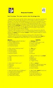 English Worksheets: Benjamin Franklin