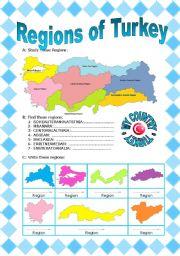 English Worksheet: REGIONS OF TURKEY (1/2)