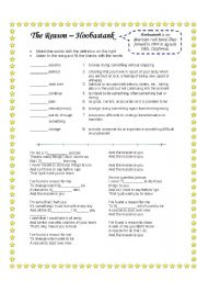 English Worksheets: Song: The Reason by Hoobastank and word/definition match