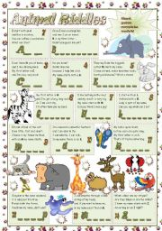 English Worksheet: ANIMAL RIDDLES
