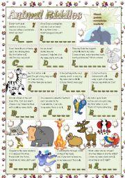 esl kids worksheets animal riddles. Black Bedroom Furniture Sets. Home Design Ideas