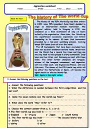 English Worksheets: History of the word cup