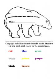 English Worksheet: Editable Brown Bear Book - Glue in the colours
