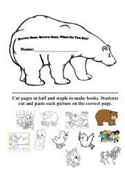 English Worksheet: Editable Brown Bear Book version two - glue animals
