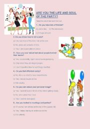 English worksheet: Are  you the life and soul of the party?