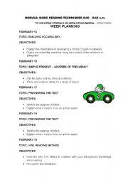English worksheet: WEEK PLANING