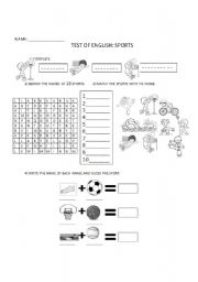 English Worksheet: TEST OF SPORTS