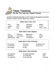 Transition Words - ESL worksheet by mdelreal214