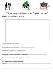 English Worksheets: What do you think of your English teacher?