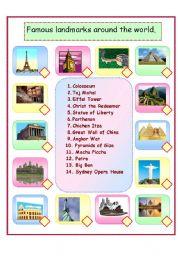 English Worksheet: Famous Landmarks around the world.