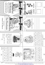 English Worksheet: Aesop´s Fables: The Hunter and the Woodman [ Mini-book ]