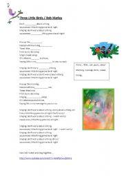 English Worksheets: Three Little Birds / Bob Marley
