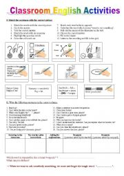CLASSROOM ENGLISH WORKSHEET + a key to understand instructions in English + homework