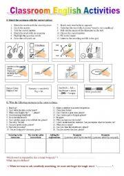 English Worksheet: CLASSROOM ENGLISH WORKSHEET + a key to understand instructions in English + homework