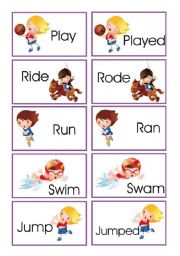 English Worksheets: Memory game: verbs in present and past