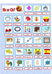 English Worksheets: Sounds Sh-Ch