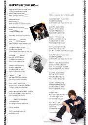 English Worksheet: Never let you go - Justin Bieber