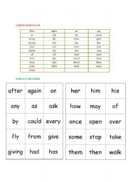 English Worksheets: Dolch Grade One