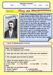 English Worksheets: Guy de Maupassant