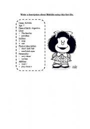 English Worksheet: Mafalda (Writing)