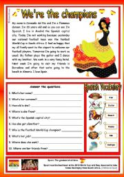 English Worksheets: We�re the champions