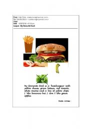 English worksheet: My Favourite Food