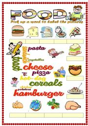 English worksheet: Food vocabulary 1 (word mosaic included)
