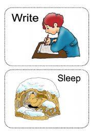 English Worksheets: action verb flash-cards set 2