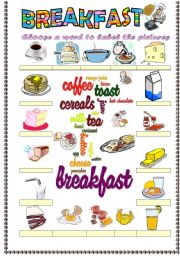 English Worksheets: Breakfast vocabulary (word mosaic included)