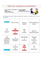BOARD GAME WITH VERB TO BE
