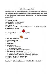 English Worksheet: OUTDOOR scavenger hunt (adapted from a previous one)
