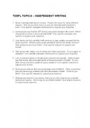 English Worksheet: TOPICS FOR TOEFL INDEPENDENT WRITING