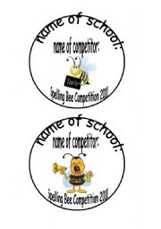 English Worksheet: Spelling Bee name cards 2 pages