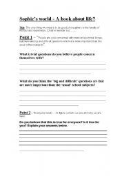 English worksheets: sophies world