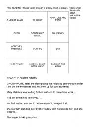Lamb to the slaughter- activities to work with the short story by R. Dahl