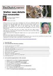 English Worksheets: Walker Man Details Lion Encounter