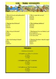 English Worksheet: Greek mythology - family tree of Greek Gods and quiz with key