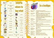 English Worksheet: SHOPS - where to buy what + dialogue