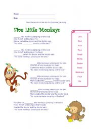 English Worksheet: Five Little Monkeys