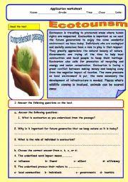 English Worksheets: Ecotounsm
