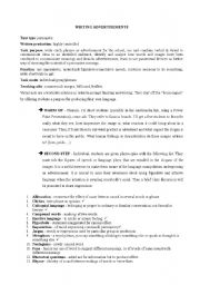 English Worksheets: writing advetisement