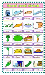 English Worksheet: pictionary food and drink