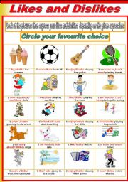 Likes and Dislikes ( circle yor favourite choice) - ESL ...