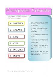 English Worksheets: European Islands