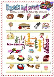 English Worksheet: Desserts and sweets vocabulary (word mosaic included)