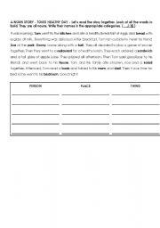 English Worksheets: Noun story