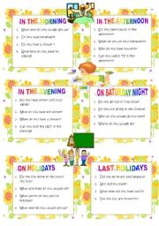 English worksheet: Questions: twelve topics /conversation cards  / set 2: ideal for oral tests or to practise in pairs