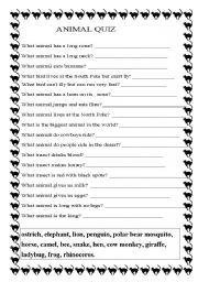 Eloquent image within animal trivia questions and answers printable
