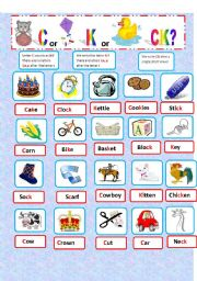 English Worksheets: Letters C or K or CK  sound K (2 PAGES)
